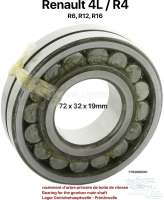 Bearing for the gearbox main shaft. Suitable for Renault R4, R6, R12, R16. Outside diameter: 72mm. Inside diameter: 32,0mm. Overall height: 19,0mm. Or. No. 7703090201 - 80079 - Der Franzose