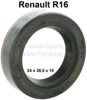 R16, shaft seal for the primary shaft (gearbox). Suitable for Renault R16 (4 gear + 5 gear gearbox). Dimension: 24 x 38.5 x 10. Or. No. 0855893300. Made in Germany. - 81344 - Der Franzose