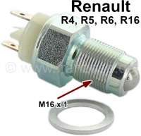 Switch for the reversing lamp. Suitable for Renault R4, R5, R6, R16. Thread: M16 x of 1,0. 2 electric plug contacts. - 85120 - Der Franzose