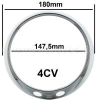 4CV, headlight chrome ring CIBIE, for Renault 4CV. Per piece. - 75297 - Der Franzose