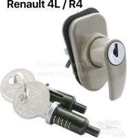 Trunk lock (handle) + 2x door lock. Suitable for Renault R4 + R4L. The luggage compartment handle is beige painted. - 87901 - Der Franzose