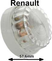 Interior light completely (grey base). Suitable for Renault R4, R5, R6, Estafette, 4CV, Dauphine, alpine A110. Outside diameter: 57,6mm. Height completely: about 31mm. - 85177 - Der Franzose