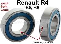 Wheel bearing set for the front axle, suitable for Renault R4, R5, R6. Consisting of 2 wheel bearings. Dimension bearing 1: Outside diameter 62,0mm. Inside diameter 30,0mm. Wide 16,0mm. Dimension bearing 2: Outside diameter 62,0mm. Inside diameter 30,0mm. Wide 16,0mm. Note: These bearings do not have an O-ring! - 83334 - Der Franzose