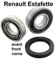 Wheel bearing set in front. Suitable for Renault Estafette (consisting of 2 wheel bearings + 1x shaft seal). Dimension bearing 1: Outside diameter: 80mm. Inside diameter: 34,75mm. Wide one: 20,88mm. Bearing 2: Outside diameter: 72mm. Inside diameter: 34,75mm. Wide one: 16,9mm. - 83132 - Der Franzose