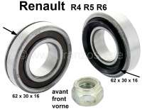 Wheel bearing set front. Suitable for Renault R4, R5, R6. Dimension bearing 1: 62 x 30 x 16. Bearing 2: 62 x 30 x 16mm. Original equipment quality. Made in Spain - 83295 - Der Franzose