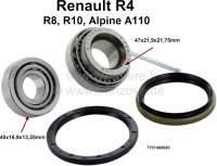 Wheel bearing set rear axle. Suitable for Renault R4, R8, R10, Alpine  A110.  Bearing 1: Outside diameter: 47mm. Inside diameter: 21,9mm. Wide one: 21,75mm. Bearing 2: Outside diameter: 40mm. Inside diameter: 16,9mm. Wide one: 13,25mm. Note: This wheel bearing set is supplied with a large sealing ring, which seals the bearing from the rear to the drum. Dimension of the sealing ring: 48 x 58 x 4. - 83001 - Der Franzose