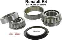 Wheel bearing set rear. Suitable for Renault R4, R5, R6, R8, Dauphine. Dimension bearing 1: 40 x 17 x 13,25mm. Bearing 2: 47 x 22 x 20,75mm. Shaft seal. Made in Spain - 83296 - Der Franzose