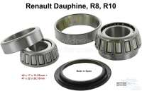 Dauphine/R(/R10, wheel bearing set in front, suitable for Renault Dauphine, R8, R10. The bearing set consists of 2 bearings. Bearing 1 = 17x40x13,2mm. Bearing 2 = 22x47x20,75mm. Or. No. 0857615500 + 0857615300. - 83317 - Der Franzose