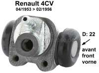 4CV, wheel brake cylinder in front. Suitable for Renault 4CV, of year of construction 04/1953 to 02/1956. Piston diameter: 22 mm. Mounting board bore: 32mm. Line adapter: 9 mm. Length over everything: 54 mm. Made in France | 80018 | Der Franzose - www.franzose.de