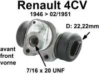 4CV, wheel brake cylinder in front. Suitable for Renault 4CV, of year of construction 1946 to 02/1951. Piston diameter: 22 mm. Mounting board bore: 32 mm. Brake line connector: 7/16 x 20UNF. Length over everything: 54 mm. Made in France | 80019 | Der Franzose - www.franzose.de