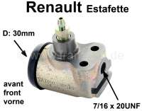 Estafette, wheel brake cylinder front. 1 piston (30mm). Brake line connector: 7/16 x 20 UNF. Suitable for Renault Estafette, starting from year of construction 1962. Mounting board bore 22mm. Length over all 65mm. - 84302 - Der Franzose