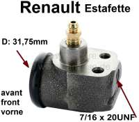 Estafette, wheel brake cylinder front, 1 piston (31,75mm/1 1/4 inch). Brake line connector: 7/16 x 24UNF. Suitable for Renault Estafette. Without vent screw. Mounting board bore: 22mm. Length over all 63,5mm. - 84303 - Der Franzose