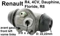 R4/rear engine, wheel brake cylinder front on the left. Suitable for Renault R4, sixties. Renault 4CV, Dauphine, Floride, R8. Piston diameter: 22,2mm. Brake line connector: 3/8 x 24. Mounting board bore: 32mm. Length over everything: 60mm. Made in Spain. - 84148 - Der Franzose