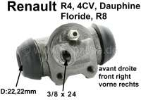 R4/rear engine, wheel brake cylinder front on the right. Suitable for Renault R4, sixties. Renault 4CV, Dauphine, Floride, R8. Piston diameter: 22,2mm. Brake line connector: 3/8 x 24. Mounting board bore: 32mm. Length over everything: 60mm. Made in Spain. - 84149 - Der Franzose