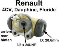 4CV/Dauphine/Floride, wheel brake cylinder at the rear left. Suitable for Renault 4CV, starting from year of construction 02/1956. Renault Dauphine + Floride. Piston diameter: 20.6 mm. Mounting board bore: 32 mm. Brake line connector = 3/8x24UNF. Length over everything: 60 mm. Made in France - 80021 - Der Franzose