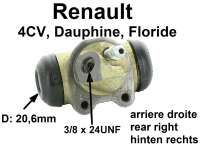 4CV/Dauphine/Floride, wheel brake cylinder rear on the right. Suitable for Renault 4CV, Dauphine + Floride. Piston diameter: 20.6 mm. Mounting board bore: 32 mm. Brake line connector: 3/8x24UNF. Length over everything: 60 mm. Made in France - 80022 - Der Franzose