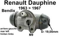 Dauphine, wheel brake cylinder at the rear left. Brake system: Bendix. Suitable for Renault Dauphine, of year of construction 1963 to 1967. Piston diameter: 19,05mm. Brake line connector: M9. Mounting board bore: 32mm. Length over everything: 61mm. Made in Spain. - 84091 - Der Franzose