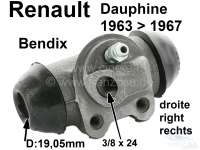 Dauphine, wheel brake cylinder at the rear right. Brake system: Bendix. Suitable for Renault Dauphine, of year of construction 1963 to 1967. Piston diameter: 19,05mm. Brake line connector: M9. Mounting board bore: 32mm. Length over everything: 61mm. Made in Spain. - 84092 - Der Franzose
