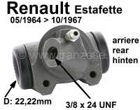 Estafette, wheel brake cylinder at the rear left. Piston diameter: 22,22mm. Suitable for Renault Estafette, of year of construction 05/1964 to 10/1967. Length over everything: 68mm. Mounting board bore: 35,8mm. Brake line connector: 3/8x24 UNF. Made in France - 84297 - Der Franzose