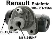 Estafette, wheel brake cylinder rear (suitable on the left + on the right). Piston diameter: 15,87mm. Suitable for Renault Estafette, of year of construction 1959 to 05/1964. Length over everything: 64mm. Brake line connector: 3/8 x 24 UNF. Per piece! Made in France - 84299 - Der Franzose