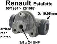 Estafette, wheel brake cylinder rear (suitable on the left + on the right). Piston diameter: 19,05mm. Suitable for Renault Estafette, of year of construction 05/1964 to 12/1967. Length over everything: 64mm. Brake line connector: 3/8 x 24 UNF. Per piece! Made in France - 84300 - Der Franzose