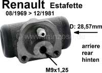 Estafette, wheel brake cylinder rear (suitable on the left + on the right). Piston diameter: 28,57mm. Suitable for Renault Estafette, of year of construction 08/1969 to 12/1981. Brake line connector: M9 x 1,25. - 84304 - Der Franzose