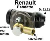 Estafette, wheel brake cylinder at the rear right. Piston diameter: 22,22mm. Suitable for Renault Estafette, of year of construction 05/1964 to 10/1967. Length over everything: 68mm. Mounting board bore: 35,8mm. Brake line connector: 3/8x24 UNF. Made in France - 84298 - Der Franzose