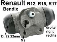 R12/R15/R17, wheel brake cylinder at the rear right. System Bendix. Suitable for Renault R12 (1.3 + 1.4). R15 (1,3). R17 (1,6). Piston diameter: 22mm.  Mounting board bore: 32 mm. Brake line connector: 9 mm. Length over everything: 62 mm - 82211 - Der Franzose