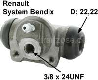 R16/Estafette/R15, wheel brake cylinder rear, on the left + on the right fitting. Brake system Bendix. Suitable for Renault R16, Estafette, R15 TS, R12 BREAK, R17TL/TS. Piston diameter: 22mm. Brake line connector: 3/8x24UNF. Mounting board bore: 36mm. Length over everything: 62mm. Made in Europe. - 84159 - Der Franzose
