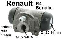 R4, wheel brake cylinder rear. Suitable, on the left + on the right. Brake system: Bendix. Suitable for Renault R4 (R1123 from 10/1962 to 12/1988, R1128/2391/2106/2370 from 1978 to 1990). Piston diameter: 20,64mm. Brake line connector: 3/8 x 24UNF. Mounting board bore: 31 mm. Length over everything: 62 mm. - 84081 - Der Franzose