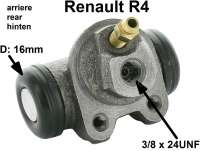 R4, wheel brake cylinder rear. Suitable on the left + on the right. Suitable for Renault R4. Piston diameter: 16mm. Brake line connector: 3/8 x 24UNF. Mounting board bore: 32mm. Length over everything: 61mm. - 84205 - Der Franzose