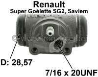 SG2, wheel brake cylinder at the rear left. Suitable for Renault SG2 (Renault premium Goélette SG2, Saviem), of year of construction 1965 to end of the series. Piston diameter: 28,57mm. overall length 78 mm, Brake line connector: 7/16 x 24 UNF. Made in France - 84368 - Der Franzose