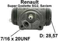 SG2, wheel brake cylinder at the rear right. Suitable for Renault SG2 (Renault premium Goélette SG2, Saviem), of year of construction 1965 to end of the series. Piston diameter: 28,57mm. overall length 78 mm. Brake line connector: 7/16 x 24 UNF. Made in France - 84369 - Der Franzose