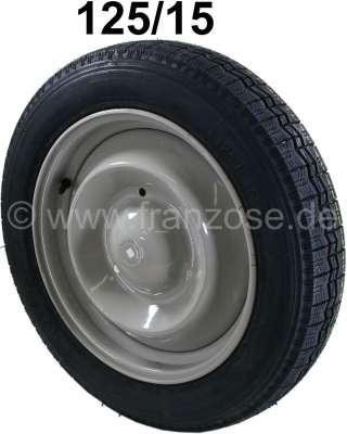 Citroen-2CV roue complète, pneus 125/15, Citroën 2CV, l'empreinte ressemble à celle du pneu Michelin,