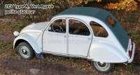capote, Citroën 2CV type A, Vert Agave, fermeture extérieure, modèle long avec petite glace ar. jusque 1957, livrée avec les 2 crochets de fixation pour le milieu des brancards de toit. Si nécessaire, commandez séparément les crochets de la caisse arrière, autour de la lunette.   17438   Der Franzose - www.franzose.de