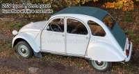 capote, Citroën 2CV type A, Vert Agave, fermeture extérieure, modèle long avec lunettes arrière normale ar. jusque 1957, livrée avec les 2 crochets de fixation pour le milieu des brancards de toit. Si nécessaire, commandez séparément les crochets de la caisse arrière, autour de la lunette.   17439   Der Franzose - www.franzose.de
