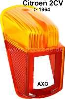cabochon de feu arrière, Citroën 2CV jusque 1964, côtés gauche et droit identiques, sur façade AR oblique, rouge et orange, avec éclairage de plaque d'immatriculation. Version export. Pièce d'origine et rare provenant d'un stock ancien | 14634 | Der Franzose - www.franzose.de