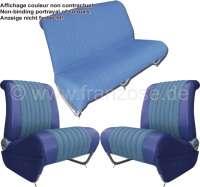 garniture de siège bleue, Citroën Ami 6 club, jeu complet pour 2 sièges avant et la banquette arrière, modèle avec poche à cartes   18613   Der Franzose - www.franzose.de