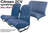 garnitures de sièges bleues, Citroën 2cv, jeu complet (avant + arrière), dossiers symétriques, tissus bleu marine, côtés fermés   18789   Der Franzose - www.franzose.de