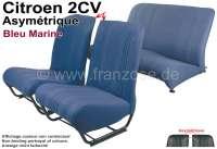 garnitures de sièges bleues, Citroën 2cv, jeu complet (avant + arrière), dossiers asymétriques, tissus bleu marine, côtés fermés   18790   Der Franzose - www.franzose.de