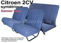 garnitures de sièges bleues, Citroën 2cv, jeu complet (avant + arrière), dossiers symétriques, tissus Damier Bleu, côtés fermés   18793   Der Franzose - www.franzose.de