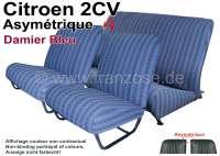 garnitures de sièges bleues, Citroën 2cv, jeu complet (avant + arrière), dossiers asymétriques, tissus Damier Bleu, côtés fermés   18794   Der Franzose - www.franzose.de