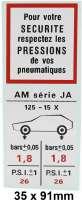 autocollant, Citroën Ami 8 AM série JA, pression de vos pneumatiques | 17504 | Der Franzose - www.franzose.de