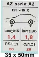 autocollant, Citroën 2cv AZ série A2, Pression de vos pneumatiques | 17503 | Der Franzose - www.franzose.de