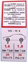 autocollant, Citroën Dyane et Méhari, Pression de vos pneumatiques | 16341 | Der Franzose - www.franzose.de