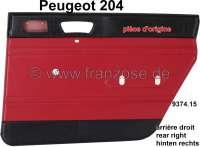 panneaux de porte, Peugeot 204 jusque salon 1970, panneau arrière droit, skai couleur rouge et noir (rouge 3103), pièce d'origine, n° d'origine 9374.15 | 78204 | Der Franzose - www.franzose.de