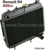 radiateur, Renault 4L moteurs Billancourt 845cm³, raccords en haut à gauche 25mm et en bas à droite 35mm, largeur 425mm, hauteur 337mm, fournisseur d'époque, entraxe des fixations inférieures 180mm, n° d'origine 7702101386   82690   Der Franzose - www.franzose.de