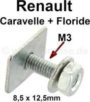 agrafe de panneau de porte, Renault Floride, Caravelle, carré avec tige fileté de 15mm | 88827 | Der Franzose - www.franzose.de